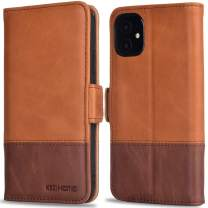 KEZiHOME iPhone 11 Wallet Case, iPhone 11 Flip Case, [RFID Blocking] Genuine Leather Folio Case Cover with Credit Card Holder Stand Function Magnetic Closure for iPhone 11 6.1 inch (Khaki/Brown)