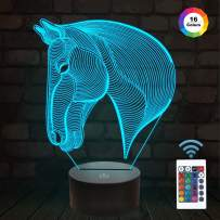 FULLOSUN 3D Night Lights for Kids Horse Head Illusion 3D Illusion Lamp Bedside Lamp Car 16 Colors Changing with Remote Control Best Birthday Gifts for Child Baby