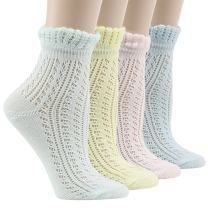 Socks Daze Women's Lace Ruffle Frilly Colorful Floral Cotton Casual Novelty Ankle Socks 4/5 Pairs