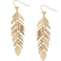 Humble Chic Floating Feathers Dangle Earrings - Long Hanging Metal Link Leaf Drops for Women - Bohemian Lightweight Layered Dangling Leaves