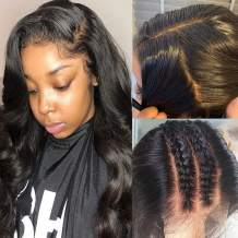 100% Brazilian Human Hair Glueless Full Lace Wigs With Baby Hair Natural Pre Plucked Long Body Wave Wavy Lace Wig for Black Women Free Part Anywhere 16inch 1B Black 130% Denisity
