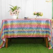 Beautiful Table Cloth Rainbow 60x102-Inch Rectangle Sequin Tablecloth Multicolor Table Cover Decorations for Weddings Party Baby Shower Decorations -0103S
