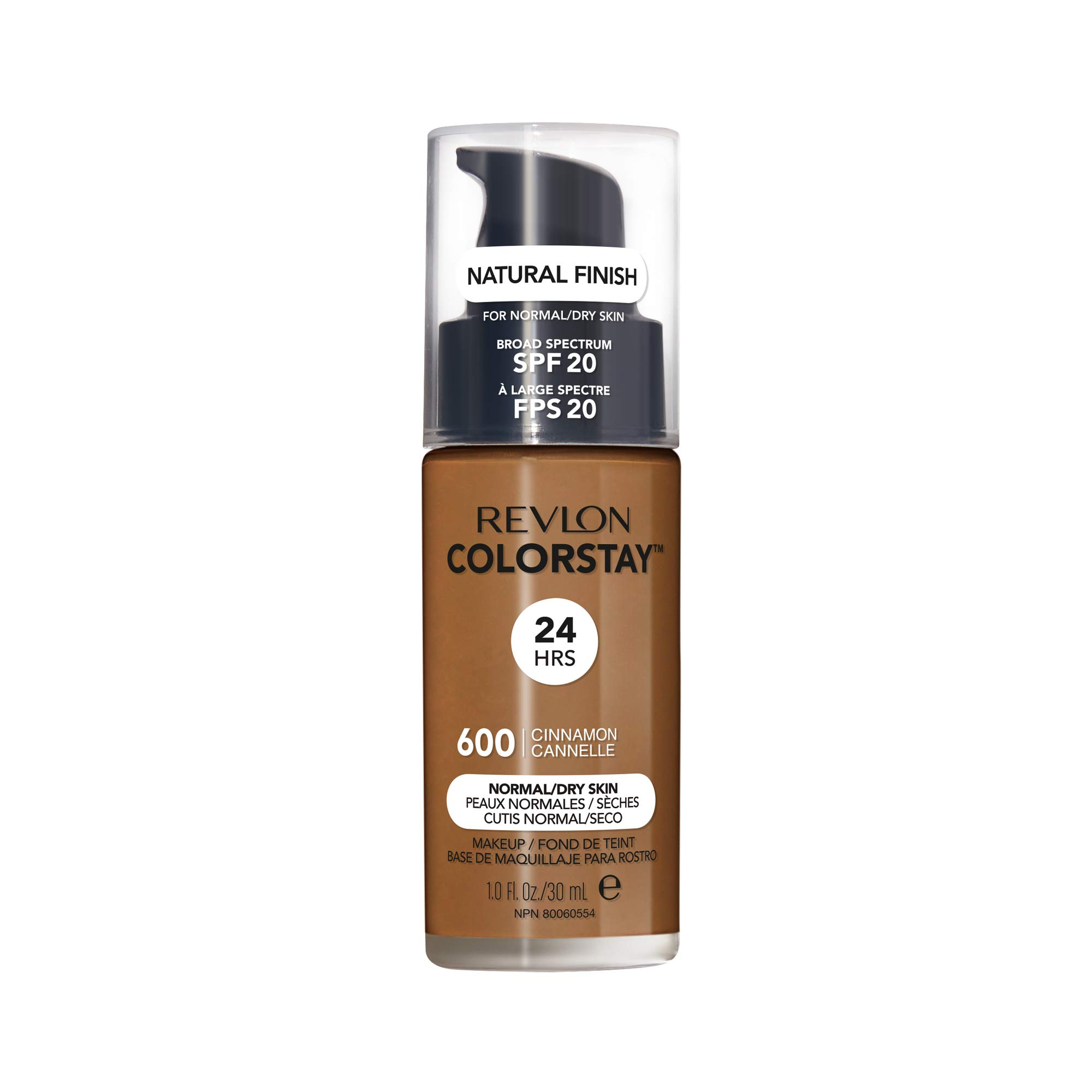 Revlon ColorStay Makeup for Normal/Dry Skin SPF 20, Longwear Liquid Foundation, with Medium-Full Coverage, Natural Finish, Oil Free, 600 Cinnamon, 1.0 oz, 1.0 Fluid Ounce