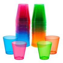 Party Essentials Hard Plastic 2-Ounce Shot/Shooter Glasses, 40-Count, Assorted Neon