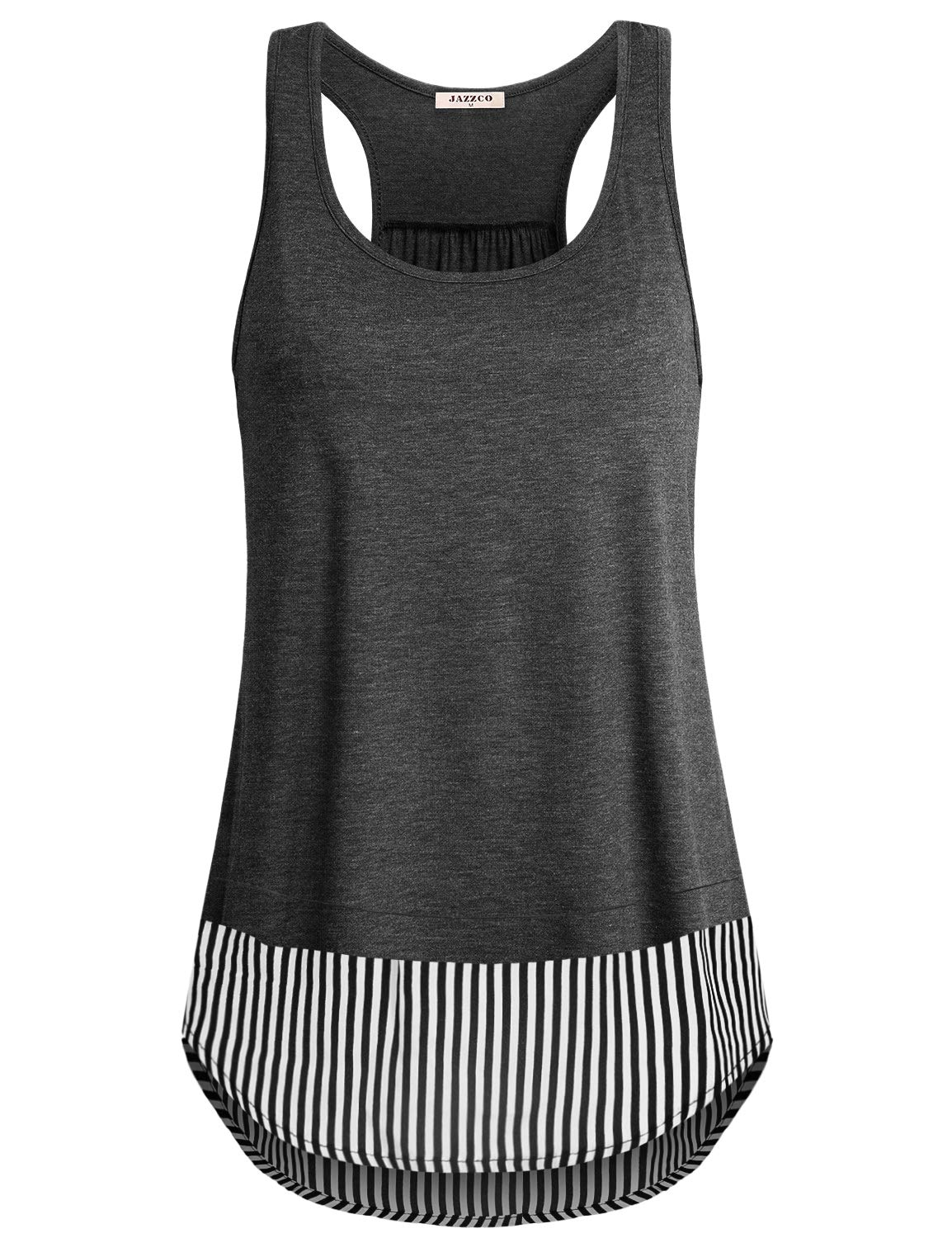 Jazzco Womens Scoop Neck Sleeveless Loose Fit Racerback Workout Splice Tank Top Regular and Plus Size
