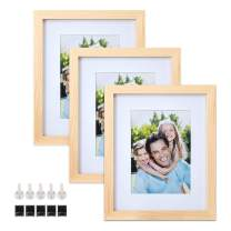 Sindcom 8x10 Solid Wood Picture Frames, 3 Pack, Photo Frame Set with Mat and Glass Cover, Natural Wood Color, Mounting Hardware Included, for Wall or Tabletop Display