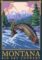 Montana - Big Sky Country - Fly Fishing Scene (9x12 Art Print, Wall Decor Travel Poster)