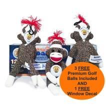Slap Yo Monkey! Golfers Sports Stress Doll 3 Nice Balls | Holds Golf Ball Dammit! | Funny Gag Gift | Stuff Sack for Glove, SAFTB Tees & More | Bag Ball Holder | Funny Valentine Golf Gifts