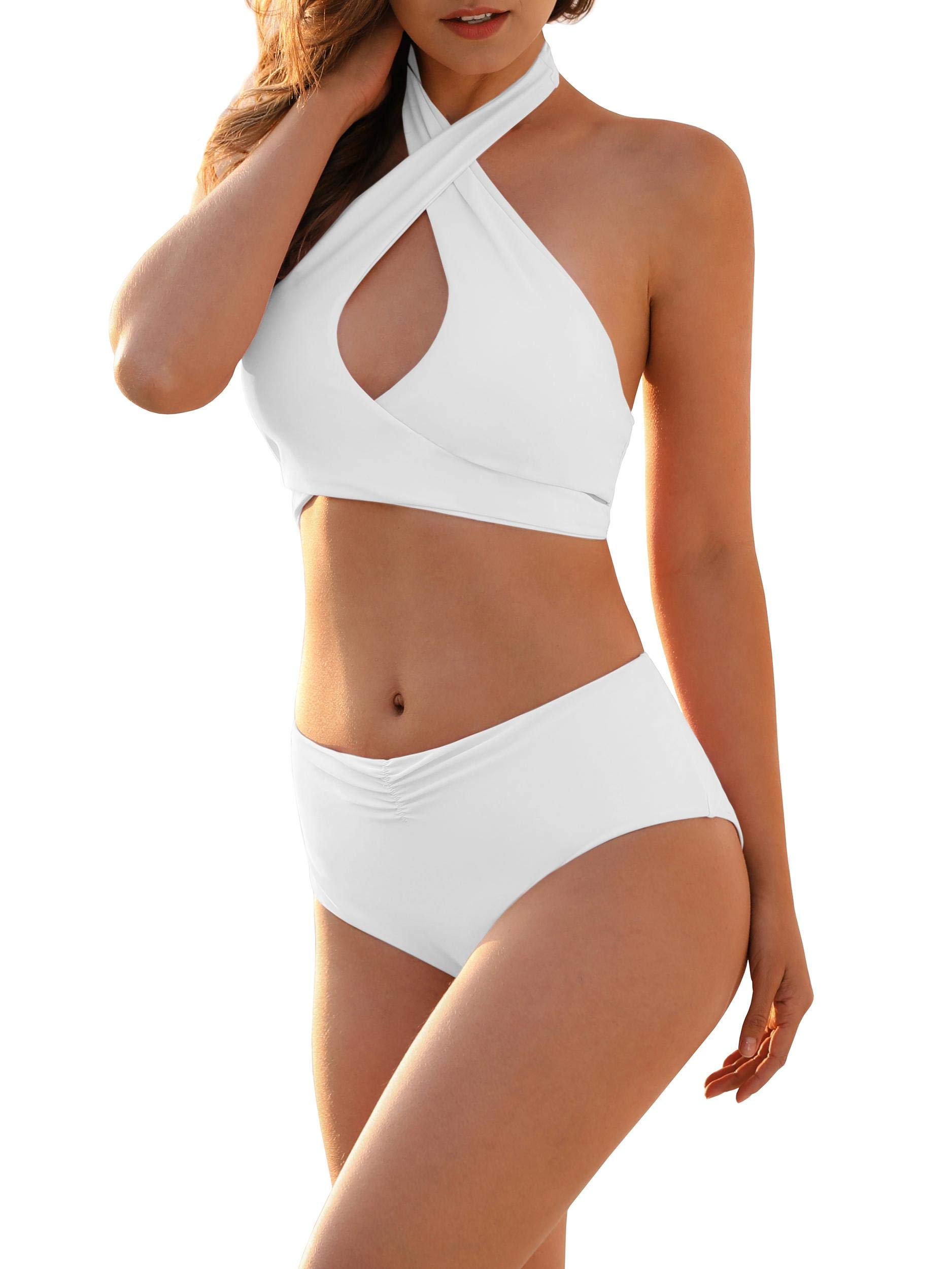 Imily Bela Womens Vintage High Waisted Bikini Sets 2 Pieces Sexy Criss Cross Swimsuits