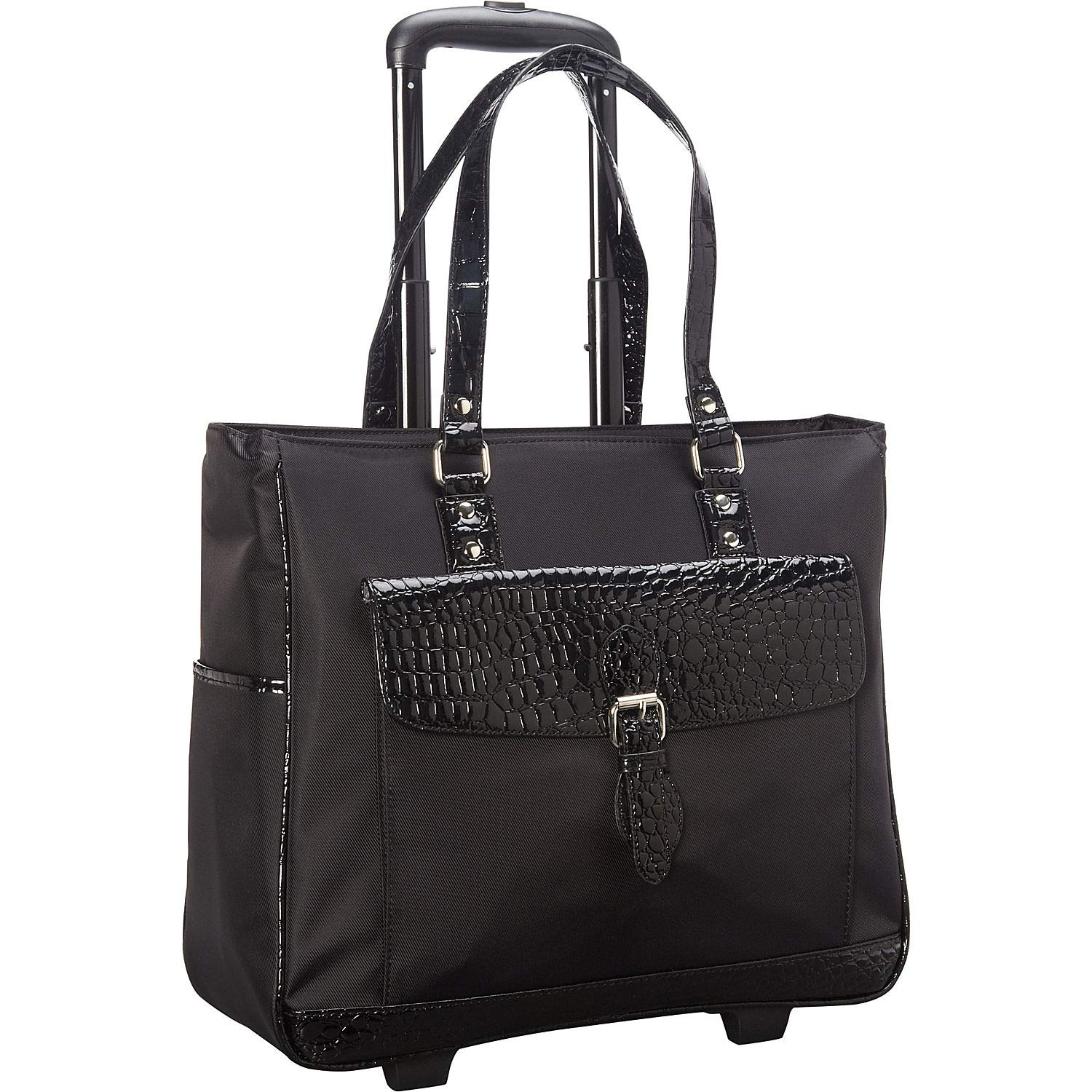 """Heritage Travelware Women's Lake View Nylon Twill 2-Wheeled 17"""" Laptop & Tablet Business Tote Carry-On, Black"""
