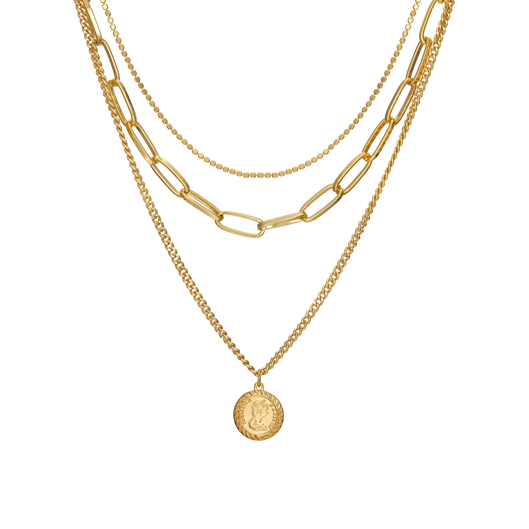 ACC PLANET Layered Pendant Necklace 18K Gold Plated Queen Elizabeth Coin Disc Chain Vintage Valentine's Day Couples Mother's Day Sweater Necklace Gold Coin Necklace for Women Jewelry
