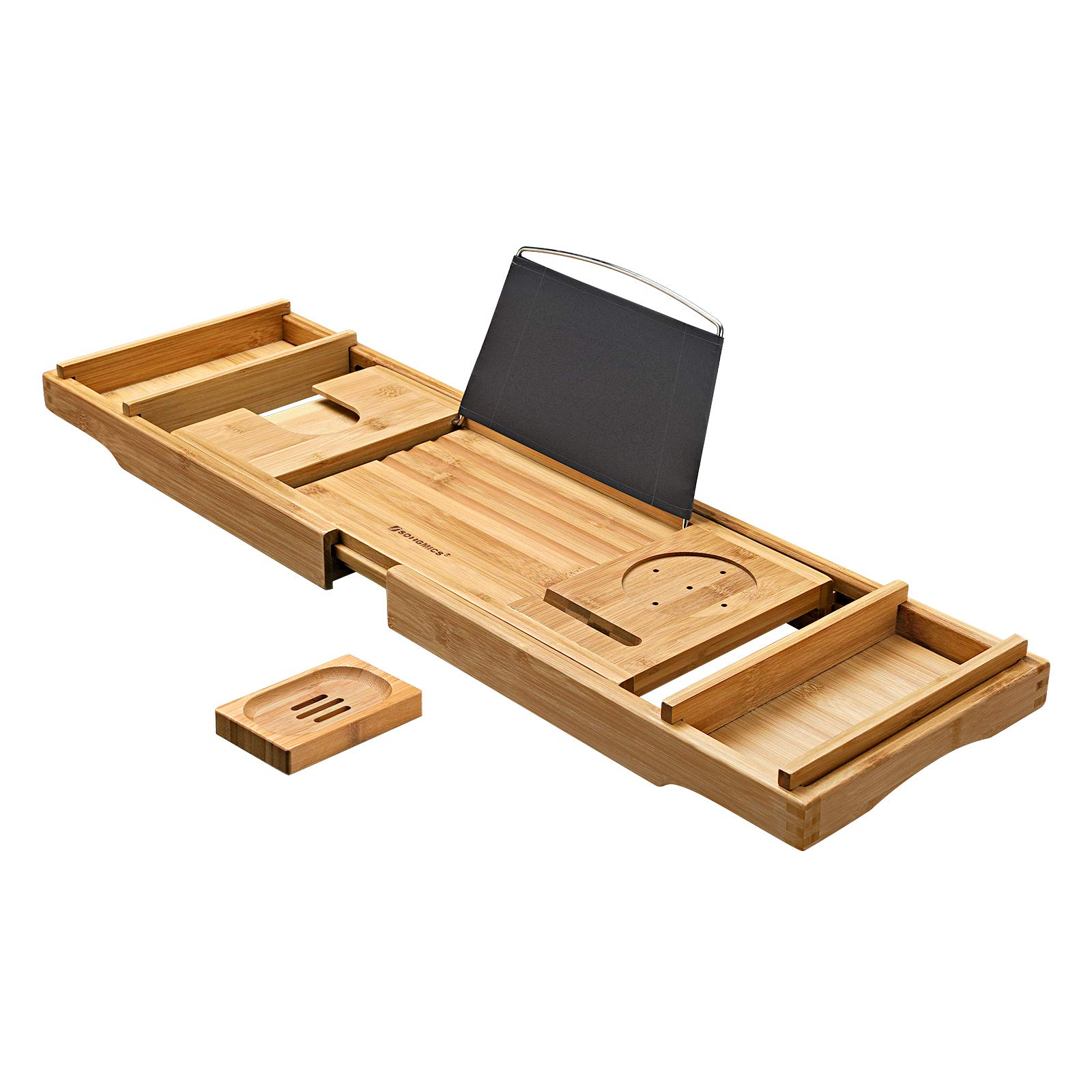 SONGMICS Bamboo Bath Tray, Luxury Extendable Tub Caddy Table with Tablet Phone Slots, Cup Holder, Bathroom Organizer, Extra Soap Holder, Natural UBCB88Y