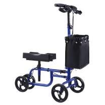 Folding Wheeled Knee Scooter | Steerable Knee Walker w Adjustable Kneeling Pad Handlebar & Storage Bag for Foot Leg Injuries | Rollator Walker Crutch Alternative for Kids & Adults, 350lb Capacity
