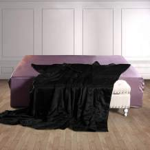 THXSILK 100% Silk Throw Blanket for Bed/Couch Top Grade Long-Strand Silk Quilted Bedspread Soft & Cozy (Black, Twin)
