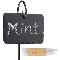 LULIND - Slate Plant Labels, Stainless Steel Stakes and 2 Chalk Pencils (10 Pack)