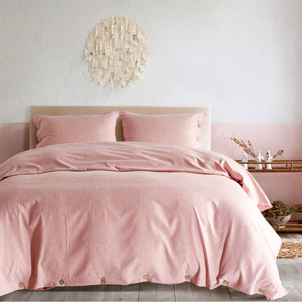 AiMay Duvet Cover Set 100% Luxury 150g Double Brushed Microfiber with Coconut Buttons Closure Solid Color Heavy and Super Soft Warm More Durable(Queen, Pink)