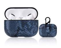 AirPods Pro Case Compatible with Airpods Pro Dust & Shock Proof Leather Protective Cover for Airpods 3 Case with Keychain (Won't Affect Wireless Charging) (Leather-Blue Snake Print)