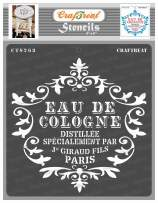 CrafTreat French Stencils for Painting on Wood, Canvas, Paper, Fabric, Floor, Wall and Tile - Eau De Cologne - 6x6 Inches - Reusable DIY Art and Craft Stencils - French Letter Stencil