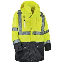 Ergodyne GloWear 8386 High Visibility Reflective Outer Rain Shell Jacket, X-Large, Lime