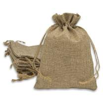 12-Pack 3x4 Natural Linen Burlap Bags w. Drawstring (Brown, Mini) for Party Favors, Gifts, Christmas Presents or DIY Craft by TheDisplayGuys