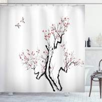 """Ambesonne Floral Shower Curtain, Classic Paint Style Artwork Flower Branches Blossom and Flying Birds Pattern, Cloth Fabric Bathroom Decor Set with Hooks, 75"""" Long, Grey White"""