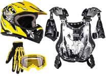 Typhoon Youth Dirt Bike Motocross ATV Helmet Gloves Goggles Chest Protector Combo Yellow (Medium)