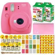 Fujifilm Instax Mini 9 Instant Camera (Flamingo Pink) + Fujifilm Instax Mini Twin Pack Instant Film (40 Shots) + Scrapbooking Album + 20 Sticker Frames Emoji Package + Emoji Photo Peg Pins + Stickers