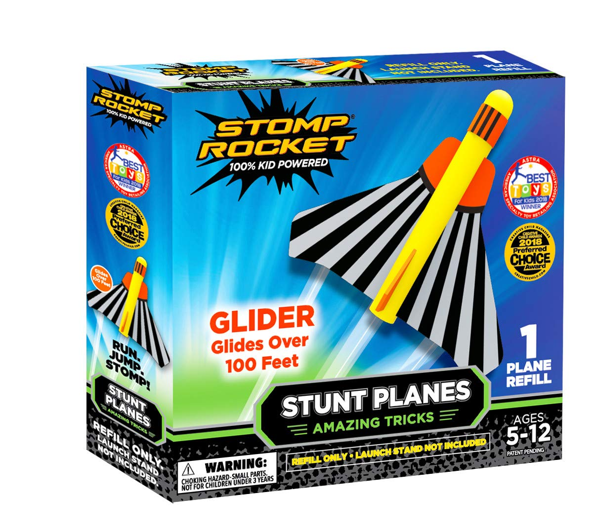 Stomp Rocket Stunt Planes Refill Pack, 1 Glider Plane, for Boys and Girls - Outdoor Rocket Gift for Ages 5 (6, 7, 8) and up