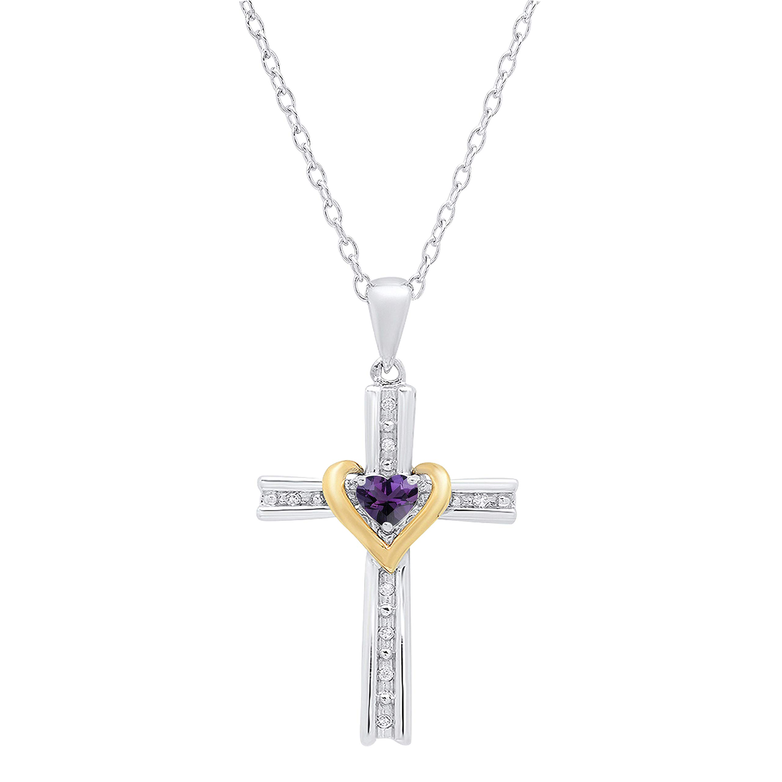 Dazzlingrock Collection 4 MM Heart Gemstone & Round White Diamond Ladies Heart Cross Pendant (Silver Chain Included), Available in Yellow Gold Plated 925 Sterling Silver & 10K Two Tone Gold