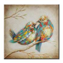 FLY SPRAY Oil Paintings Canvas Wall Art Cute Lovely Birds Animal Painting Framed 100% Hand Painted Abstract Decorative Artwork for Living Room Children Baby's Bedroom Office Home Decor