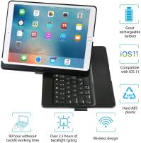 iEGrow iPad Keyboard Case for iPad Pro 10.5 (2017) - iPad Air 10.5 (3rd Generation 2019) - 360 Degree Rotatation - 7 Color Backlits - Smart Folio Case with Keyboard (Black)