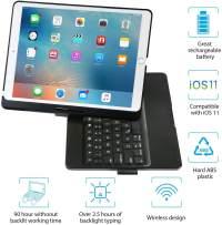 iEGrow iPad Keyboard Case for iPad Pro 10.5 (2017) - iPad Air 10.5 (3rd Generation 2019) - 360 Degree Rotatation - 7 Color Backlits - Smart Folio Case with Keyboard (Black)