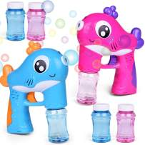 FUN LITTLE TOYS 2 Bubble Guns with 4 Bottles Bubble Solution, Bubble Blower for Bubble Blaster Party Favors, Summer Toy, Outdoors Activity, Kids Birthday Gift