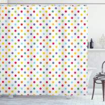 """Ambesonne Abstract Shower Curtain, Colorful Polka Dots Round Circular Vintage Fashion Girls Feminine Baby Design, Cloth Fabric Bathroom Decor Set with Hooks, 70"""" Long, Whiite Purple"""