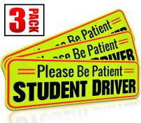 "Student Driver Magnet Car Signs for The Novice or Beginner. Better Than A Decal or Bumper Sticker (Reusable) Reflective Magnetic Large Bold Visible Text (10"" Be Patient Reflective)"