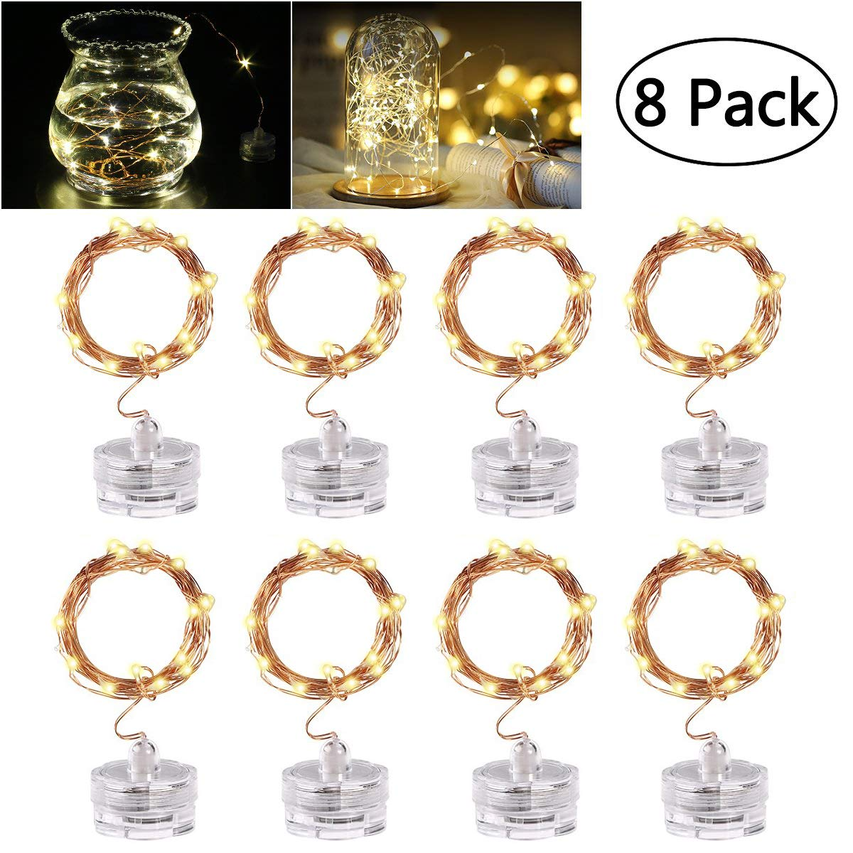 8 Pack Fairy String Lights, YUNLIGHTS 6.5Ft 20 LED Battery Operated Firefly String Lights on Flexible Copper Wire, IP65 Waterproof Twinkle Lights for Wedding Party Bedroom Patio Christmas (Warm Light)