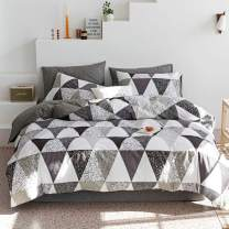 VClife Cotton Bedding Duvet Cover Sets Twin Girl Boy Triangle Pattern Bedding Sets White Gray Black Geometric Bedding Quilt Cover Sets (No Comforter), Hypoallergenic, Breathable, Soft, Zipper Closure
