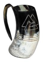 5MoonSun5's VIKING DRINKING HORN MUG Handcrafted Ox Cup Goblet - Drink Mead & Beer Like Game of Thrones With This Large Ale Stein - A Perfect Present For Real Men Odin engraved (HBM-605)