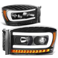 DNA Motoring HL-HPL-RM06-G-BK-AM Pair LED DRL+Sequential Chasing Turn Signal Projector Headlight