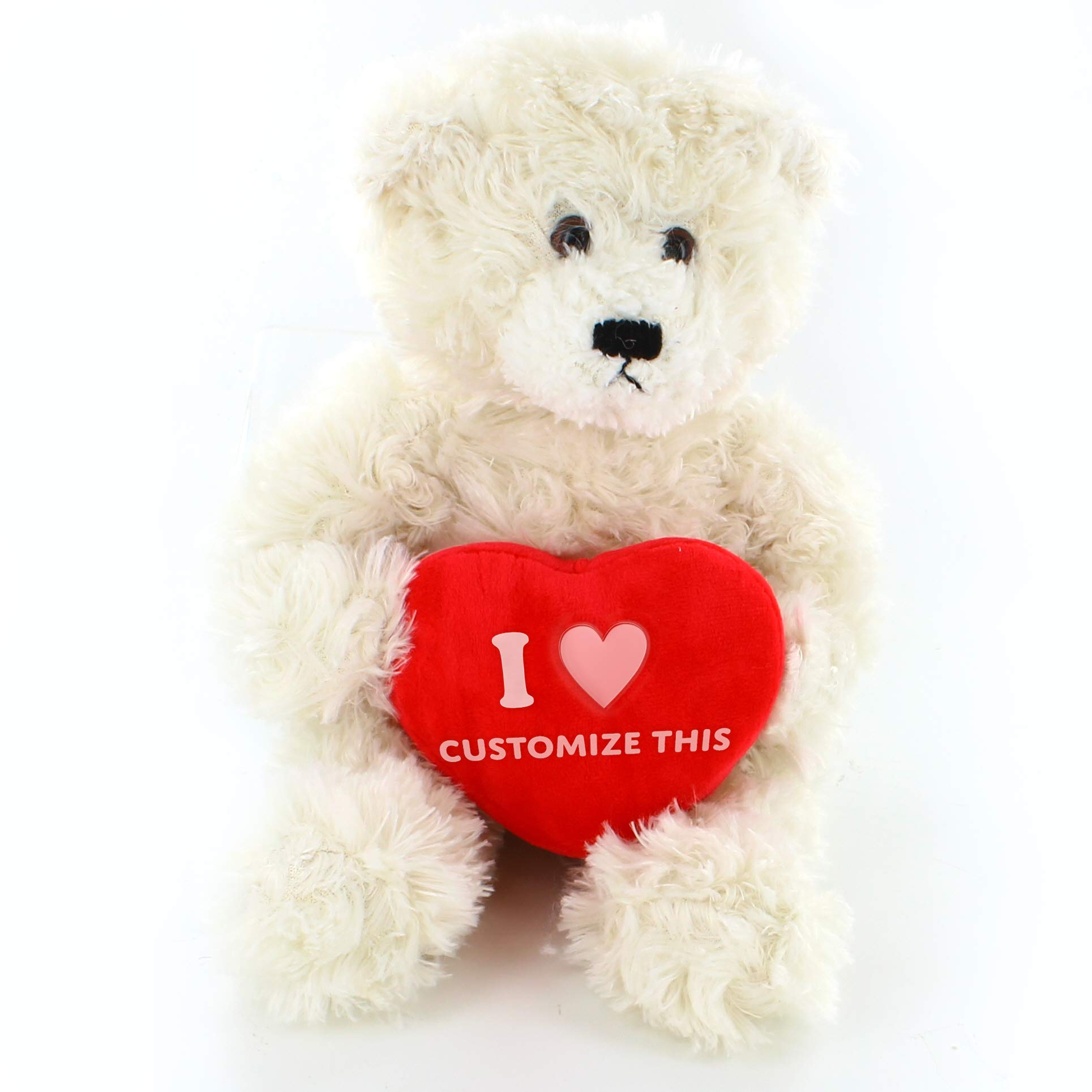 Plushland Brandon Bear 12 Inches with Custom Heart, Cream Teddy Bear Stuffed Animal - Valentine Day Personalized Gift for Girls, Boys and Your Loved Ones