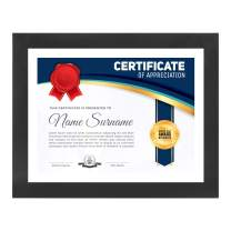 Document Frame for 8.5x11 Inch Diploma with Mat and 11x14 Inch Certificate, Photo, Artwork, Achievements and Degree (Solid Black, 8.5x11)