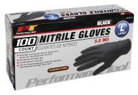 Performance Tool W89012 Black Large Nitrile Gloves, Disposable, Powder, Latex Rubber Free, Textured Fingertips for Better Grip, 100 Pack