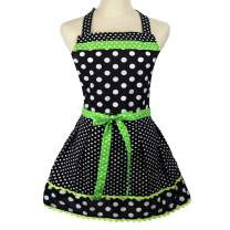 Cotton Polka Dot Apron for Women with Ruffle (Green)