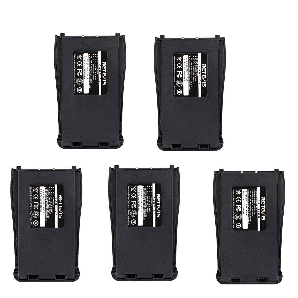 Retevis Two Way Radio Battery 1000mAh Original Replacement Battery for Retevis H-777 Baofeng BF-888S Arcshell AR-5 Walkie Talkie (5 Pack)