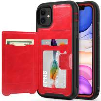 timecity iPhone 11 Case,Dual-Camera System 6.1-Inch iPhone Wallet Case.Full-Body Heavy Duty Protection Leather Cover with Card Holder & Kickstand Case for iPhone 11 2019 Release - Black +Red