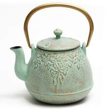 TOPTIER Tea Kettle for Stove Top, Cast Iron Teapot Stovetop Safe with Infusers for Loose Tea, 22 oz, Light Green