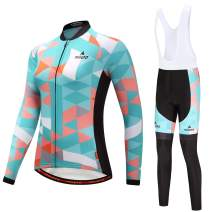 MILOTO Women's Cycling Jersey White Bib Pants Set Long Sleeve Biking Suits