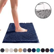 DEARTOWN Non-Slip Shaggy Bathroom Rug (Navy,24X39 Inches),Soft Microfibers Chenille Bath Mat with Water Absorbent, Machine Washable
