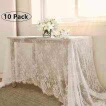QueenDream 60x120 Inches Tablecloth 10 Pack Lace Tablecloth White Lace Linen Wedding Lace Tablecloth
