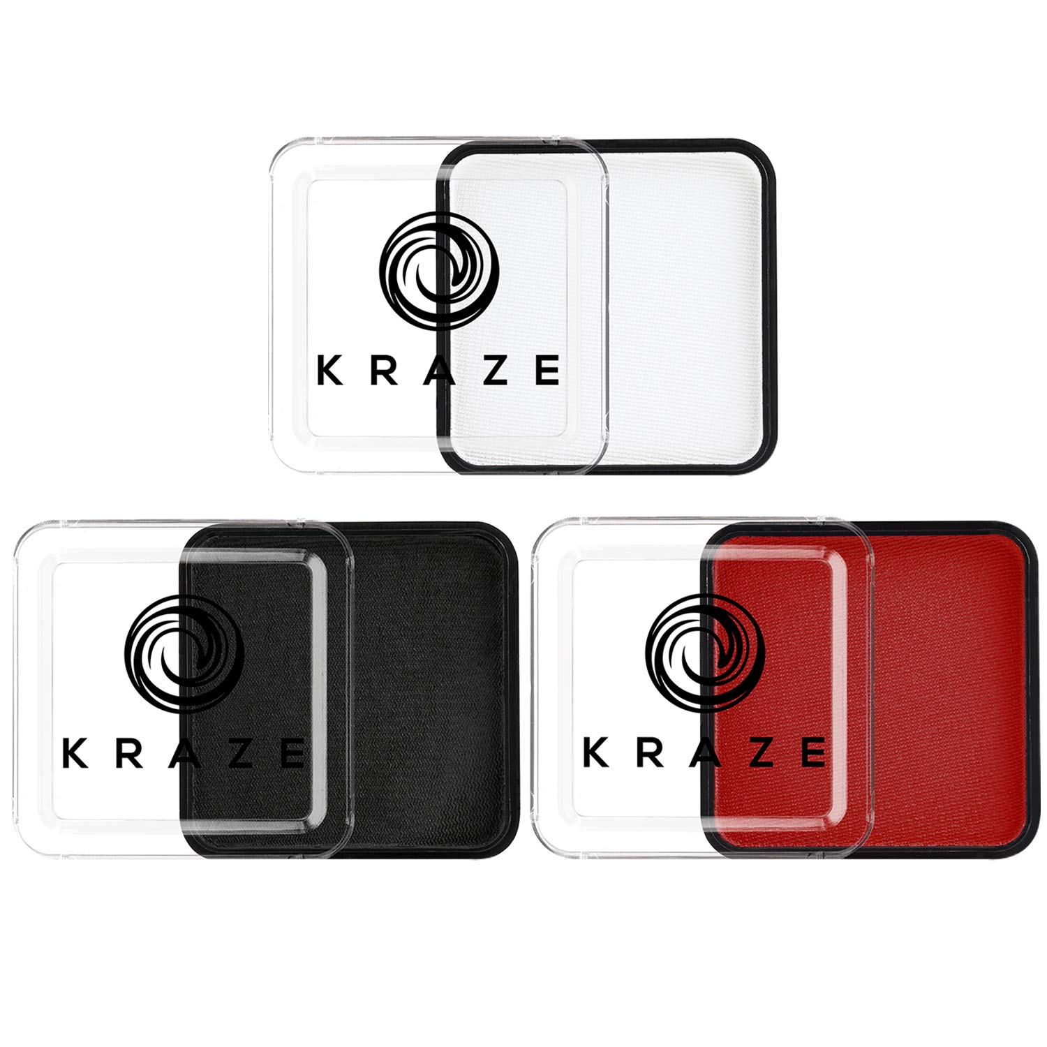 Kraze FX Red, Black & White Face Paint Set (25 gm each) - Hypoallergenic, Non-Toxic, Water Activated Professional Face & Body Painting Makeup, Combo Value Pack